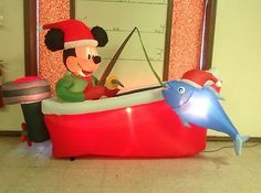 Gemmy PROTOTYPE Airblown Inflatable Christmas Disney Mickey Mouse Fishing #87650