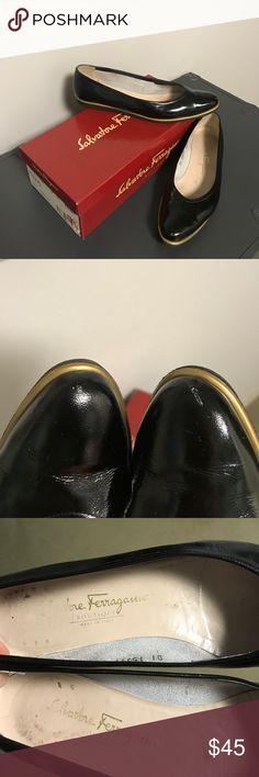 Salvatore Ferragamo Black patent leather flat Lightly worn. Slight pointed toe. Gold trim. Comes with Salvatore Ferragamo box. Classic style! Salvatore Ferragamo Shoes Flats & Loafers