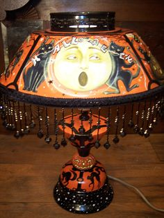 ~BLACK CAT HALLOWEEN FROLIC!~BY ARTIST/SIGNED~VINTAGE TOLE LAMP~HAND PAINTED~   eBay