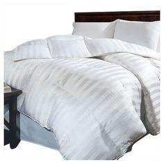 Siberian Damask Stripe Down All Seasons Comforter White - Blue Ridge Home Fashions : Target