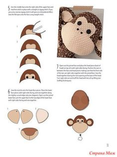 Amazing Home Sewing Crafts Ideas. Incredible Home Sewing Crafts Ideas. Felt Patterns, Pdf Sewing Patterns, Stuffed Toys Patterns, Embroidery Patterns, Hand Embroidery, Sewing Toys, Sewing Crafts, Sewing Projects, Toy Monkey