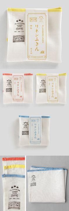 【リネンふきん(中川政七商店)】 Japanese Packaging, Tea Packaging, Food Packaging Design, Paper Packaging, Pretty Packaging, Brand Packaging, Branding Design, Logo Design, Japanese Graphic Design