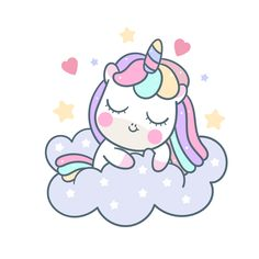 Cute Unicorn sleep vector on cloud pony cartoon for sweet dream pastel color, Kawaii animal with star, Nursery decoration: Fairytale horse in Flat style doodle. Magic for kid greeting card, fashion artworks, children books, Print for t-shirt (Illustration).