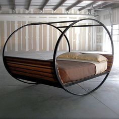 Rocking upcycled wood + metal bedframe