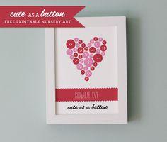 Cute as a Button Nursery Print, would make a cute nursery or baby shower idea.