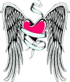tiny wrist angel wing with a heart tattoos designs | Angel Tattoo