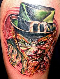 Irish leprechaun tattoos are the legendary tattoos mainly in Ireland. Leprechaun tattoo is normally credited with good, that's why decorated with a clover. Scary Leprechaun, Leprechaun Tattoos, Irish Leprechaun, Movie Tattoos, All Tattoos, Tattoos For Guys, Horror Tattoos, Celtic Cross Tattoos, Draw