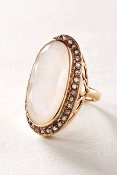 Moonstone and Labradorite Scepter Ring in 14k Rose Gold by Arik Kastan | Pinned by topista.com