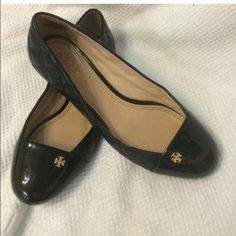 10/4 HP Tory Burch Quilted Claremont Flats Elegant and chic Authentic Tory Burch flats, perfect for work or play. Size 7  - Quilted leather with a patent leather toe cap.  - Rare find in great gently used condition.  - Minimal wear on heel, and small blemish in interior of right shoe (see last pic).   ***Reasonable offers considered*** Reposhing because sadly they're a tad small on me   Please feel free to ask any questions. Thanks for looking! Tory Burch Shoes Flats & Loafers