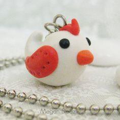 Polymer Clay Bird Necklace - Tangerine Tango & White - Handmade Jewelry. $10.00, via Etsy.