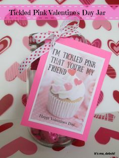 Tickled Pink Valentine's Day Jar. Perfect DIY craft for a gift.