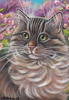 Maine Coon Longhair Cat - Spring Painting Original Art Painting by Marta Oktaba ♥•♥•♥
