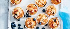 The blueberries in these muffins will help lower cholesterol and support heart health - so you know they're full of goodness! Muffin Recipes, Raw Food Recipes, Banana Blueberry Muffins, Reduce Cholesterol, Sushi, Coconut, Gluten Free, Women's Fitness, Treats