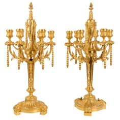 Pair of Gorgeous Bronze Candelabras | From a unique collection of antique and modern candleholders and candelabra at http://www.1stdibs.com/furniture/lighting/candleholders-candelabra/