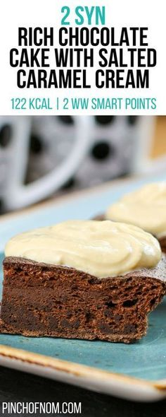 2 Syn Rich Chocolate Cake With Salted Caramel Cream | Pinch Of Nom Slimming World Recipes 122 kcal | 2 Syns | 2 Weight Watchers Smart Points