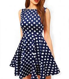 Polka dot mini dress with flared skirt