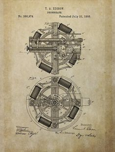 Aged Phonograph Patent Drawing Thomas Edison