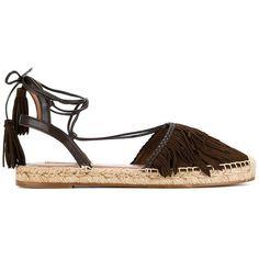 Aquazzura Aquazzura 'Pocahontas' Espadrilles featuring polyvore, women's fashion, shoes, sandals, lace up espadrilles, aquazzura shoes, espadrilles shoes, brown sandals and leather lace up shoes