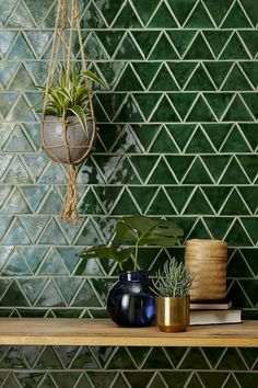 Handmade New Terracotta tiles // Glazed green triangle