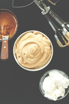 3 ingredient peanut butter mousse - whipped coconut milk or cream, pb, sweetener -- can use as frosting!!! :D