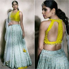 Sky blue embroidered designer lehenga choli aasva the. Stylish Blouse Design, Fancy Blouse Designs, Saree Blouse Designs, Sari Blouse, Lehnga Dress, Lehenga Choli, Rajasthani Lehenga, Indian Wedding Outfits, Indian Outfits