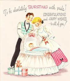 Your place to buy and sell all things handmade Vintage Greeting Cards, Vintage Christmas Cards, Rice Paper Decoupage, Baby Congratulations Card, Rock A Bye Baby, Old Cards, Happy Wishes, Retro Baby, Vintage Wrapping Paper
