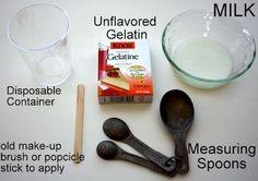 1. Get the ingredients: milk and gelatin.