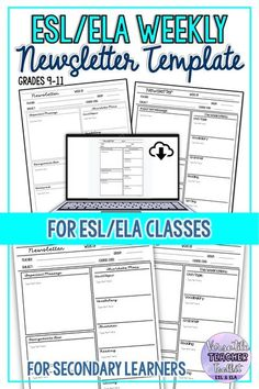 Free newsletter template for back to school. Use this editable weekly newsletter template to inform students and parents about important news/messages, course content, homework, and assignments. This resource has been designed for ESL and ELA classes. #newsletter #ESL #ELA #backoschool #classroomforms #distancelearning #remoteteaching #secondarylearners #VersatileTeacherToolkit #TpT Writing Resources, Teaching Resources, Teaching Ideas, Weekly Newsletter Template, Teacher Newsletter, Parent Contact, Classroom Management Strategies, Middle School Classroom, Ell