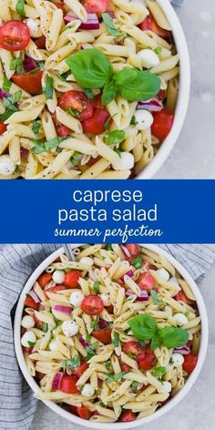 The traditional flavors of caprese, fresh mozzarella, basil, and tomato, are wonderfully represented in caprese pasta salad. Perfect for picnics, or a light summer dinner. Caprese Pasta Salad, Summer Pasta Salad, Pasta Salad Recipes, Healthy Salad Recipes, Summer Salads, Lunch Recipes, Cooking Recipes, Light Summer Dinners, Make Ahead Salads