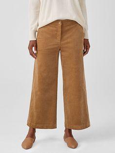 Ankle Pants, Wide Leg Pants, Corduroy Pants, Khaki Pants, Wide Legs, Back Patch, Eileen Fisher, Fashion Pants, Hemline