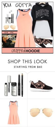 """Cropped Hoodie"" by melindairenes ❤ liked on Polyvore featuring Bobbi Brown Cosmetics, NIKE, Ray-Ban, Kobelli, nike, CroppedHoodie and thankswonderfulluvs"