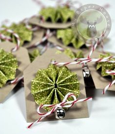 Rosette Wreath Gift Tags by Scraps Of Life - Cards and Paper Crafts at Splitcoaststampers