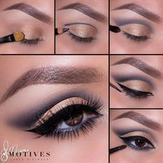 GOLD & STEEL CUT CREASE PICTORIAL. Step 1: Start the look by applying gold glitter eyeshadow all over the lid. Step 2: With a grey eye kohl, draw a line to create a cut crease. Step 3: Blend the line with a fluffy blending brush! Everything should look smooth and effortless. Step 4: Apply dark grey eyeshadow to the outer part of the eye. Keep in mind that crease should stay sharp and clean. Create winged eyeliner using a black gel liner. Step 5: Line the waterline using grey grey eyeliner