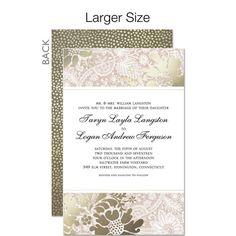 Elegant Brocade - Signature White Wedding Invitations in Hazelnut or Twilight | Petite Alma