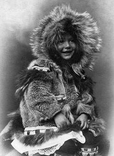1903 Inuit child in fur parka, Alaska.