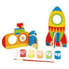 Hape Paint it Yourself Space Voyage Wooden Kid's Craft Kit Craft Kits For Kids, Crafts For Kids, Arts And Crafts, Wooden Puzzles, Wooden Toys, Bright Paint Colors, Hape Toys, Eco Kids, Hobbies For Kids