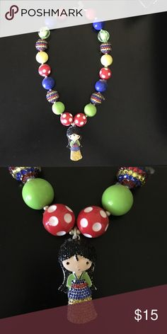 ⭐️SALE⭐️Mulan chunky bubblegum necklace Handmade, high quality mulan chunky bubblegum necklace. Simply pair with your little cuties outfit or as a prop for a photo shoot! Disney Accessories Jewelry