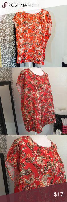 Tangerine floral print silk top Size XL Tops