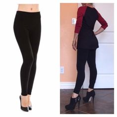 """Black Seamless Cozy Fleece Leggings Super soft, comfy and stretchy leggings.. One size fits most.. Material: 90% Poly, 10% Span....29""""inseam Pants Leggings"""