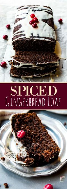 Deeply spiced gingerbread loaf with orange icing and TONS of festive holiday flavor!! Christmas dessert recipe on sallysbakingaddiction.com