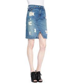 Destroyed Denim Pencil Skirt via @WhoWhatWear