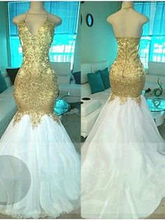 Awesome Amazing White And Gold Mermaid Prom Dresses 2017 Tulle Appliques Beaded Ruffle Evening  2018 Check more at http://24shopping.cf/my-desires/amazing-white-and-gold-mermaid-prom-dresses-2017-tulle-appliques-beaded-ruffle-evening-2018/