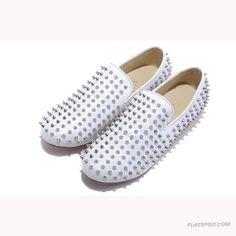 Christian Louboutin Men Flats Sheepskin Sticker White
