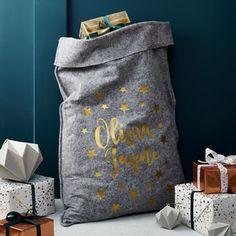 Personalised Grey Felt 'Stars' Christmas Sack - stockings & sacks