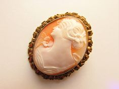 Vintage Hand Carved Shell Cameo Brooch Pendant Gold Filled 1930s 1940s signed