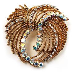 Vintage Antique Gold Bow Crystal Brooch (Iridescent)