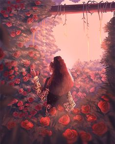 Pretty gif of a beautiful girl with curly hair in a ponytail sitting in a forest surrounded by a bed of red roses. Green vines drape the trees in the background. Art Inspo, Inspiration Art, Gifs, Pixel Art, Pretty Gif, Art Mignon, Art Anime, Art Et Illustration, Anime Scenery
