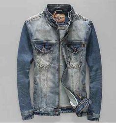 Jaqueta Jeans Moda Jeans Vintage Mens jaqueta Colar do carrinho Punk Motociclista casaco 002