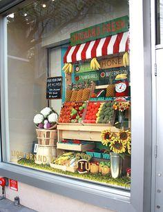 "Lion Brand Yarn Studio in New York City - Spring 2015 ""Orchard Fresh"" themed window display!"