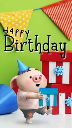 Here We Have A Birthday Wishing quotes And Images Best Artilce On Happy Bday To Girlfriend Happy Birthday Pig, Happy Birthday Wishes Cards, Happy Birthday Celebration, Happy Birthday Quotes, Pig Wallpaper, Funny Phone Wallpaper, Cute Bunny Cartoon, Desenho Pop Art, Cute Piglets